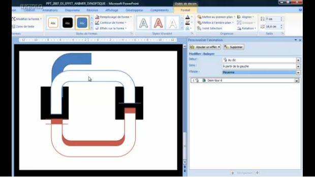 Powerpoint 2007 animer un synoptique avec effet suivant forme