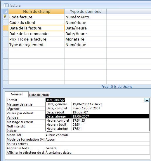 ACCESS_SELECTIONNER_UN_FORMAT_DE_DONNEES