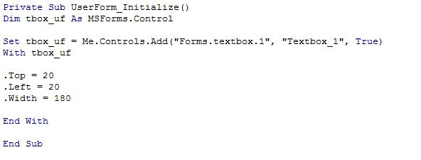 Excel VBA userform dynamique ajout textbox