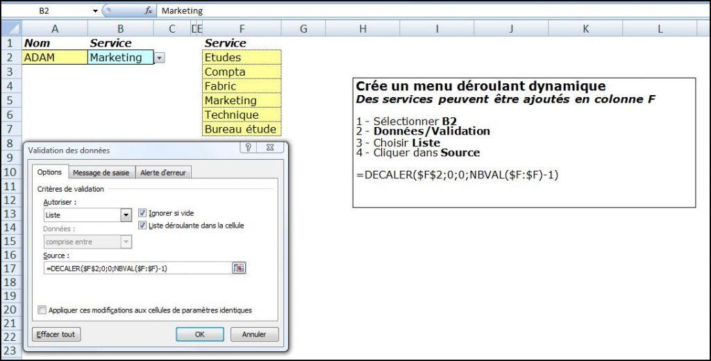 Excel 2007 : Comment faire un menu dynamique sur sur Excel en moins de 5 min.EXCEL_2007_EX_DECALER_MENU_DYNAMIQUE