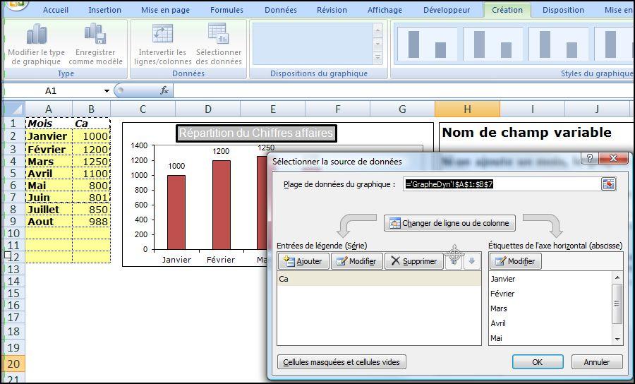 EXCEL_2007_EX_GRAPHIQUE_DYNAMIQUE Excel 2007 : Comment faire un graphique dynamique sur Excel en moins de 5 min.
