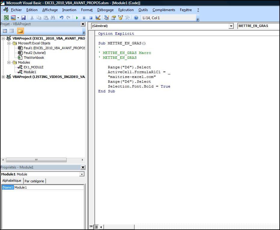 Excel 2010 : Commencer avec EXCEL VBA en moins de 6 min.EXCEL_2016_VBA_AVANT_PROPOS