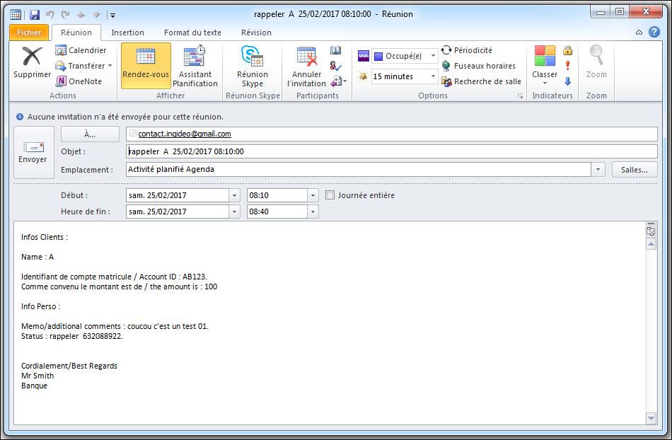 Excel 2010 : Comment envoyer une réunion personnalisée via Excel VBA sur Outlook 2010 en moins de 5 min. EXCEL_2010_MACRO_VBA_REUNION_OUTLOOK