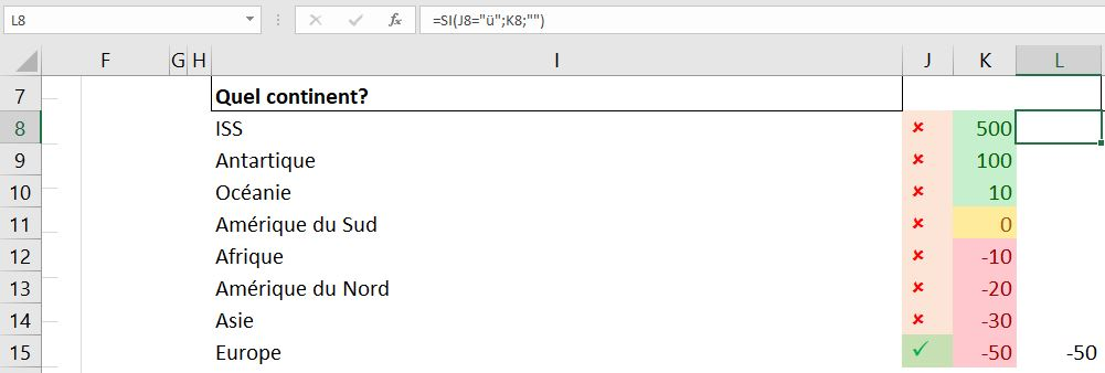 Excel 365 : Comment faire une échelle Covid19 exemple de critère