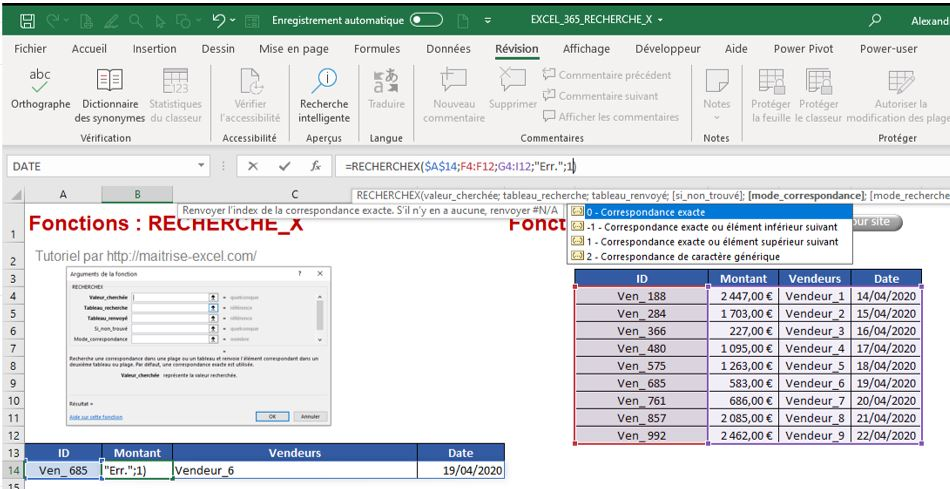 Excel 365 : Comment utiliser la fonction RechercheX mode correspondance