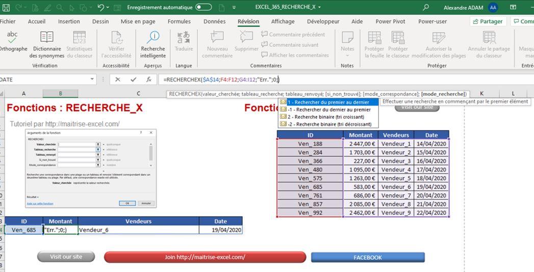Excel 365 : Comment utiliser la fonction RechercheX sur Excel en moins de 20 min.