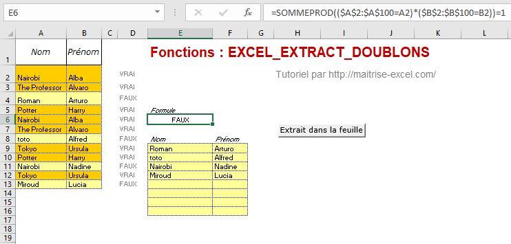 Excel 365 : Comment extraire  les non-doublons d'un plage sur Excel sans Doublon en sortie